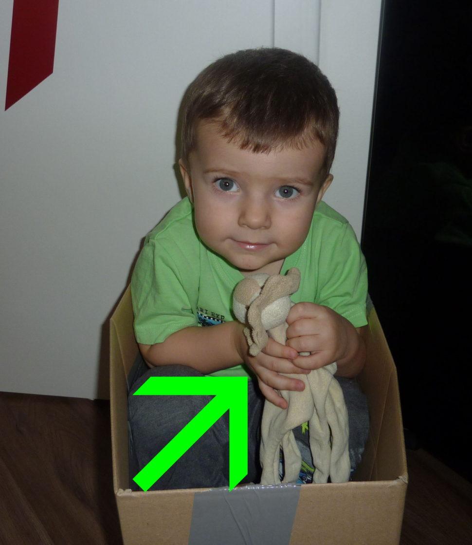 V krabici se nám s Muchlinkou líbí.